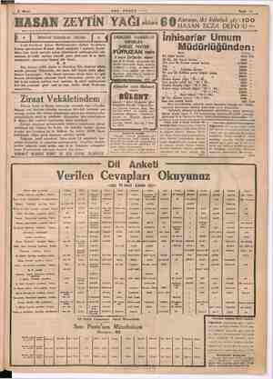 "2 Mayıb "" SON POSTA © - Sâyfa 11"" HASAN ZEYTİN YAĞI ons 6 9 uri eek e 100 l . | mim ni i D * | ietanbul Belediyesi Hünlar |"