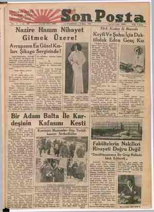 """HALKINSGGÖZÜ HARBİN, KULA Ğ HkKIN """"Bitişi Vie 3 —No: 999 -SonPosta Yazı işleri telefonu: 20203 — PAZARTESİ — 8 Mayıs 1933..."""