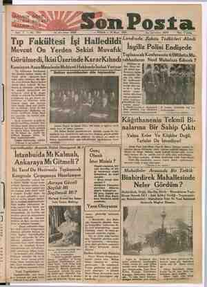 """"""" HAYKIN GÖZÜ HALKINSKULAĞI HALKIN» DİLİ Sene 3 — No: 1019 Yazı işleri telefonu: 20203 Son Post — PAZAR — 28 Mayıs 1933 Tıp"""
