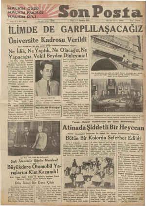 """HALKIN:GÖZÜ HALKİIN KULAĞI HALKİIN DİLİ Sene: 4 — No:""""ıo.u — Yazı işleri telöfokur %3 İLİMDE — SALI — 1 Ağustos 1933 —..."""