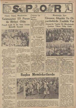 Dunku Xüîne_ îüiisğba/kalğarı Galatasaray 115 Puvan ile Birinci Oldu Dünkü yarışlara iştirak edenlerden bazıları İstanbul