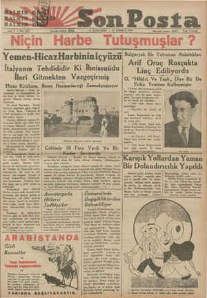 y HARLKINSG. HALKIN HALIRINaD Sene 4 — No: 1423 —— ÇARŞAMBA — 11 TEMMUZ 1934 Italyanın Tehdididir Ki İbnissuüdu İleri...
