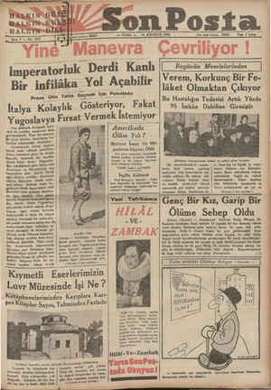 """HALKIN HALKIN ; HAIIK'N Sene 5 — N 53 imperatorluk Derdi Kanlı Bir infilâka Yol Açabilir Proı';ı ,0""""3—)? İtalya Yugoslavya"""
