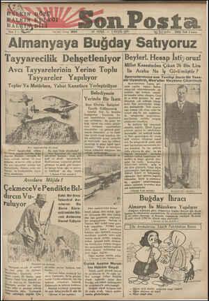 - son Posta &d CUMA — 7 EYLÜL 1934 20203 Fiatı & kuruş #İK PÜLKIN t6 ÖZÜ HALK TRK ODAĞI K Yazı İşleri telefonu: 20203 -—...