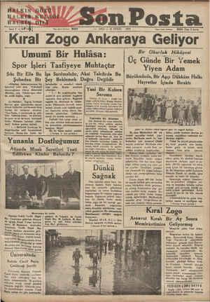 e. HALKIN*GÖZÜ HALKİN>KUDAĞI HA VN: DELİ N'ltl! Yam işleri telefonu: SALI — 11 EYLÜL Son Posta 1934 İdaro işleri telefena: