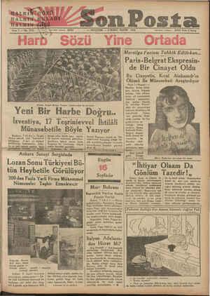 Lozan Sonu Türkiyesi Bü- HALKİF;.'OZO HALIĞN KULAĞI HALKIN i Sene 5 — No. 1533 Yazı işleri telofona 20203 ea Alman, Sovget