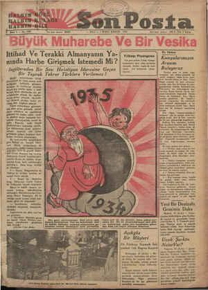 İ z ga HAbKIN GÖZÜ HALKTNASKÜLAĞI HALTRIN-DİLİ. — SALI — 1 İKİNCİ KÂNUN 1935 Ittihad Ve Terakki Almanyanın Ya-| |— nında...