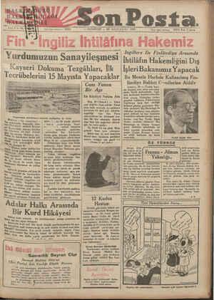 Son Posta. . SS Na YA işleri telefonuz 20203 — ND RAZARİFŞİ — 21 İKİNCİ KÂNUN 1935 İdare işleri telefonu — 20203 Fiatı 5