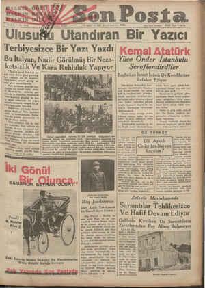 HALKTÖ, CÜOZÜ £- « y 1 E/SALI -& Terbiyesizce Bir Yazı Yazdı| Kemal Atati Bu İtalyan, Nadir Görülmüş Bir Neza-| Yüce...