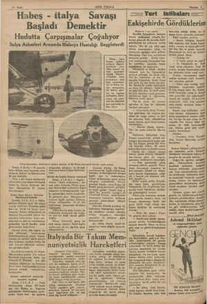 """'SON POSTA Habeş - ifalya Savaşı Başladı Demektir Hudutta Çarpışmalar Çoğalıyor """" İtalya Askerleri Arasında Malarya..."""