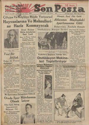 """ebe HARLKIN"""" HALKTN H ALCIN Sene 5 — No, 1768 i Son Posta 20203 —— CUMARTESİ — 6 TEMMUZ 1935 İdare işleri Helelanm 20203..."""