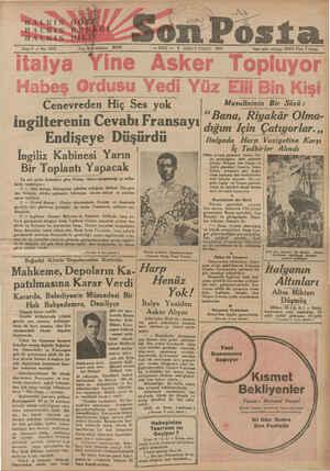 italya ASİ Habeş Ordusu Yedi Yüz Elli Bin Kişi ! — SALI — 1 BİRİNCİ TEŞRİN 1935 ine Asker Topluyor ingilterenin Cevabı