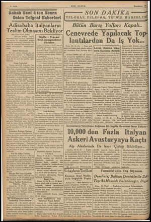 Sabah Saat 4 ten Sonra Gelen Telgraf Haberleri |TELGRAF, TELEFON, TELSİZ HABERLERİ Adisabab a Italyanların Teslim Olmasını