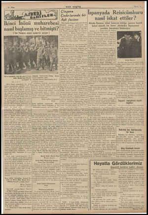 N İkinci lnönü muharebesi nasıl başlamış ve bitmişti? ( Son Postanın askeri muharriri yazıyor ) | | Birinci İnönünden sonra