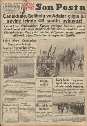 HALKIN GÖzü 0 Tere İN Son Post HALKIN DİLİ Sene 6 — No. 2145 Yazı işleri telefon: giliiğ | — ÇARŞAMBA — 22 TEMMUZ 1936...
