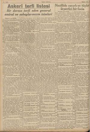 """Sayfa """"SON POSTA Askeri terfi listesi - Bir derece terfi eden general amiral ve subaylarımızın isimleri (Baştarafı 1 inci"""