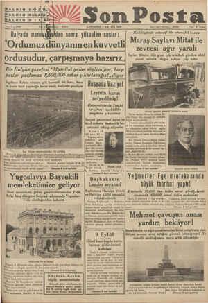 f'*'ı ş Z—Son Posta ÇARŞAMBA —9 EYLÜL 1936 Idare ışlen telefonu : 20203 Fiati S Kuruş ' veğlaldan sonra yükselen sesler:...