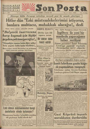 """HALKIN GÖZÜ HALKIN KULAĞI ğ / HALKIN D İLIİI """" _4 0 E__îîfg_s—_ 'Yan et ıeı,(nîıı. 20203 ş PERŞEMBE — 10 EYLÜL 1936 — T..."""