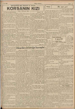 10 Eylül ea —— —— Kahramanlık, aşk, heyecan ve | KORSANIN Sn Posta'nın tarihi tefrikası Amiral Portonda büyük bir...