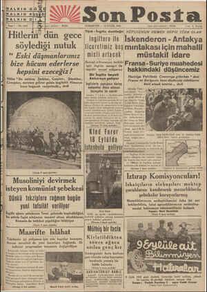 """Son Posta Frn telefonu : 20 CUMARTESİ — 12 EYLÜL 1936 İdare işleri telefonu * 20203 """" Fisti '& Kurlıji Sene7—No 2197 Türk -"""