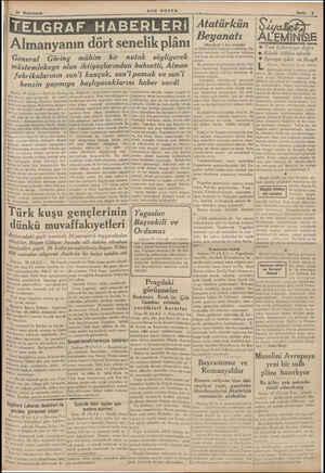 Almanyanın dört senelik plânı General Göring mühim bir nutuk söyliyerek müstemlekeye olan ihtiyaçlarından bahsetti, Alman