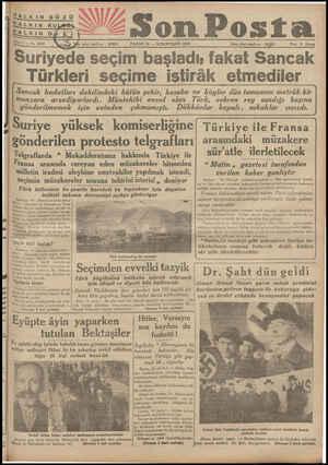 ı HALKIN GÖZÜ HALKIN KU sfa işleri telefonu : 20203 Fiatı 5 Kuruş Sriy seim başladı; fakat Sancak Türkleri seçime iştirâk...