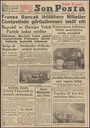 KIN GÖZÜ Son Posta Sine 7 —No. 2271 Yazı işleri telefonu : ÇARŞAMBA 25 — İKİNCİTEŞRİN 1936 ©— Ç—Ç(Ç(Ç(Ç(Âdare şi 1936 İdare