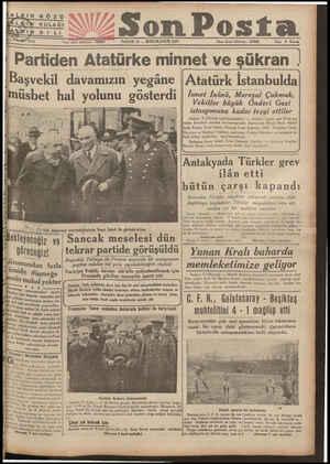 """"""" Son Posta PAZAR 10 — İKİNCİKÂNUN 1937 işleri telefonu : İdare İşleri telafonu * 20203 Fiai S Kuruş PartidenAtatürke minnet"""