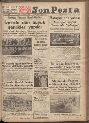 HALKIN GÖZÜ HALKIN KULAĞI İALKIN Di Li Sne 7 — No, 2360 Y Türkkuşu Filosunun Muvaffakiyetleri İzmirde dün büyük şenlikler