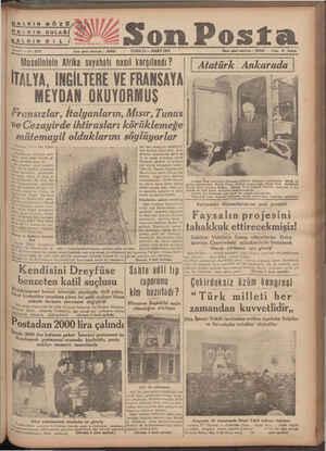 HALKIN GÖZÜ HALKIN KULAĞ HALKIN Di L Yazı işleri telefonu 1 20203 Sene 7 — No, 2373 CUMA 12 — MART 1937 Musolininin Afrika
