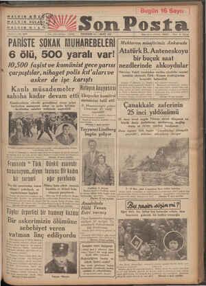 HALKIN GÖZ HALKIN KULA HALKIN Di L 'a 9 nt7—ND 2379 PARİSTE SOKAK MUHAREBELERİ 6 ölü, 500 yaralı var! 10,500 faşist ve...