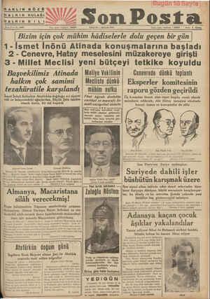 HAKLIN Gözü AZ ŞomPosta Sene 7 — No, 2447 Yeli işleri telefonu : lefonu : 20203 SALI 25 — MAYIS 1937 İdare işleri,...