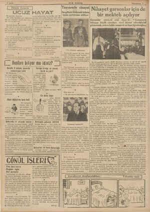& Sayfa BSON İOIİ:l' ( Tzi Kuyealı UCUZ HAYAT Bir gazetede okuyorum: orada kadınlardan biri kendine yüz ver- «Bir adam,