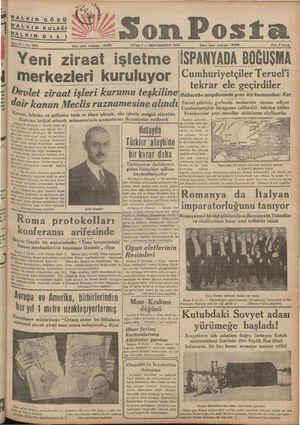 )  onm Posta İKİNCİKÂNUN 1938 İdare işleri telefonu : 20203 Fiatı 8 kuruş MA 7 Yeni ziraat işletme İSPANYADA BOĞUŞMA...