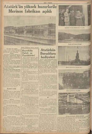 Atatürk'ün yüksek huzurlarile Merinos fabrikası açıldı —aT m (Baş tarafı 1 inci sayfada) Saat on beşten sonra Altıparmaktan
