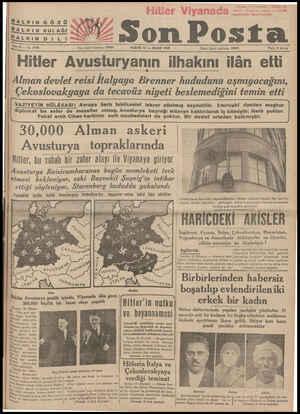 "HALKIN GÖZÜ f,,:r'—t sta HALKIN DAi L İi T"" z Haa - L HS a Yazı işleri telefonu: 20203 PAZAR 13 — MART 1938 İdare işleri..."