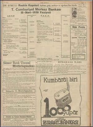 > 17 Ma ——. ÇOK KIYMETLİ. Keskin Kaşeleri SON POSTA T. Cumhuriyet Merkez Bankası 12 -Mart-1938 Vaziyeti AKTIF KASA : Altın :