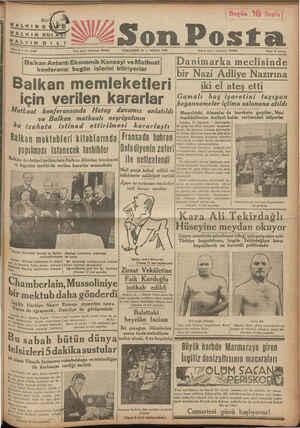 """HALKIN KUL """"ALrıNoı I ESon Posta w., 2766 Yazı işleri telefonu: 20209 — — PERŞEMDE 14 — NİSAN 1938 — l Balkan Antantı..."""