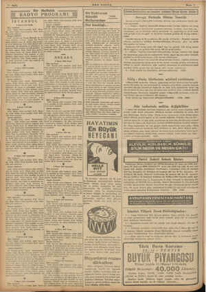 10 Bayfa Bir Haftalık zz Z RADYO PROGRAMI £ İSTANBUL ün GN BAR, Ze zt VAA Bt 1 Mayıs 1888 Pazar Akşam neşriyatı: Ökğte...