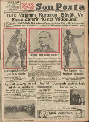 İÇKİSİZ SAZ Bayan Mualilâ ve arkadaşlarının büyük konseri BU AKŞAM İstanbul Cağaloğlu erkek lisesi ya- nında Çifte...