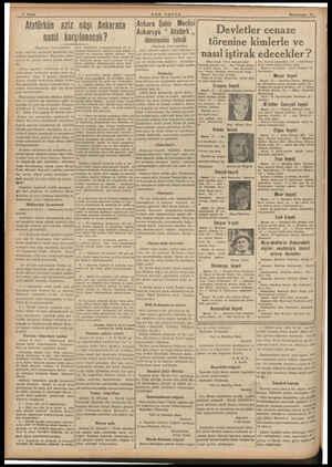 4 Sayfa SON POSTA İkinciteşrin 16 Atatürkün aziz nâşı Ankarada nasıl karşılanacak ? (Baştarafı 1 roşal, vek rasimle karşılana