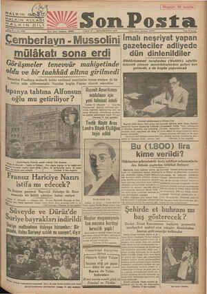 HALKIN HALKIN KULAĞI HALKIN DIİLİ Stne 9 — No 3038 Yazı işleri telefonu: 20203 CUMA 13 — İKİNCİKÂNUN 1939 Cemberlavn -...