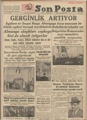 HALKIN GÖZÜ HALKIN KULAĞI HH ALKITINDİLİ Sene 9 — No, 3102 ym ıçhn heldemx:m SALI 21 — MART 1939 ittifak cephesi kurmak...