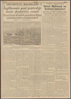 Lı SON POSTA ENİZCİLİK BAHİSLERİ İngilterenin yeni yaptırdığı deniz devlerinin evsafı (Kral Corc V)sınıfı gemilere itiraz...