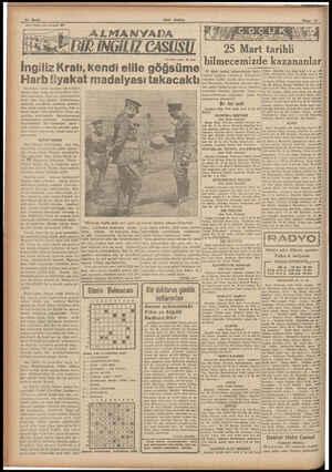 14 Sayfa «Son Postâ» nin tefrikası; 29 İngiliz Kralı, kendi elile göğsüme Harb liyakat madalyası takacaktı Sonraları k zaman