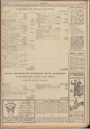 10 Gayfa SON POSTA DOYÇE ORYENTBANK DRESDNER BANK ŞUBESİNİN 31 Birincikânun 1938 tarihindeki senelik bilânçosu MK TIP KASA