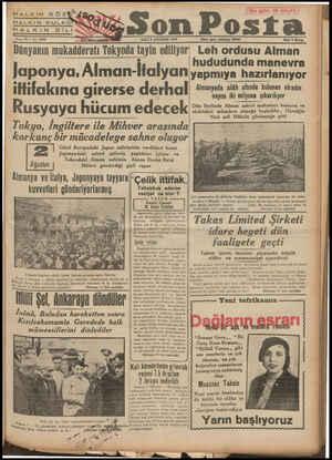HALKIN KULAGx'sodX Ka y lll ea HALKIN DİLİ Hi ni amesie Sene 10 — No. 3242 SALI 8 AĞUSTOS 1939 Zaz İğleri teletodik Dünyanın