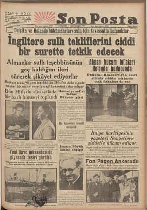 HALKIN GÖZÜ HALKIN KULAĞI HALKIN DıLI cne ıo_ No, 3334 Yazı işleri telefona: 20203 Son Posta ÇARŞAMBA 8 İKİNCİTEŞRİN 1938