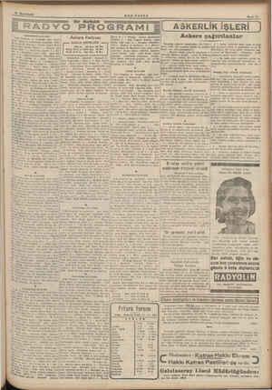 Bir Haftalık SON POSTA YO PROGRAMI E CUMARTESİ 18/11/1939 135: Ağar za. ve memleket sani ayarı Türk ç 15 ve meteüroloji...