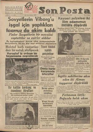 HALKIN GÖZÜ Hü aa HALKIN KULAĞI Hat KINDİLİ aa Sene 10 — No, 3436 Yazı ı.,len telefonu: 20203 (UVI! 23 ŞUBAT 1940...